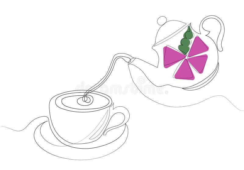 женщина чая партии пить ослабляя Одна линия чертеж также вектор иллюстрации притяжки corel иллюстрация штока