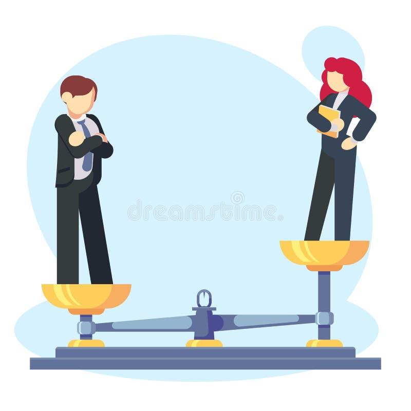 Женщина человека масштабирует концепцию с мужской и женский, мужской весить больше Бизнесмен гендерного разрыва и неравенства и иллюстрация вектора