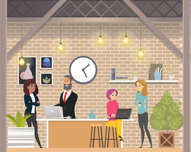 Женщина человека обсуждает дело в Openspace Coworking иллюстрация штока