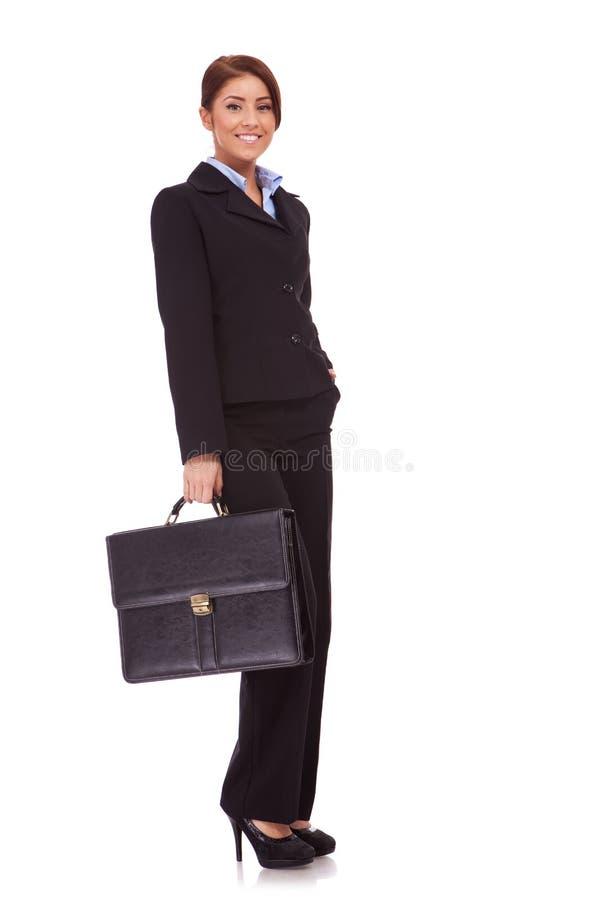 женщина чемодана дела стоковое фото
