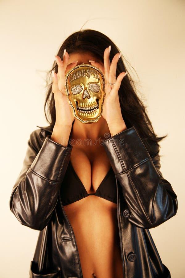 женщина черепа медальона стоковые изображения rf