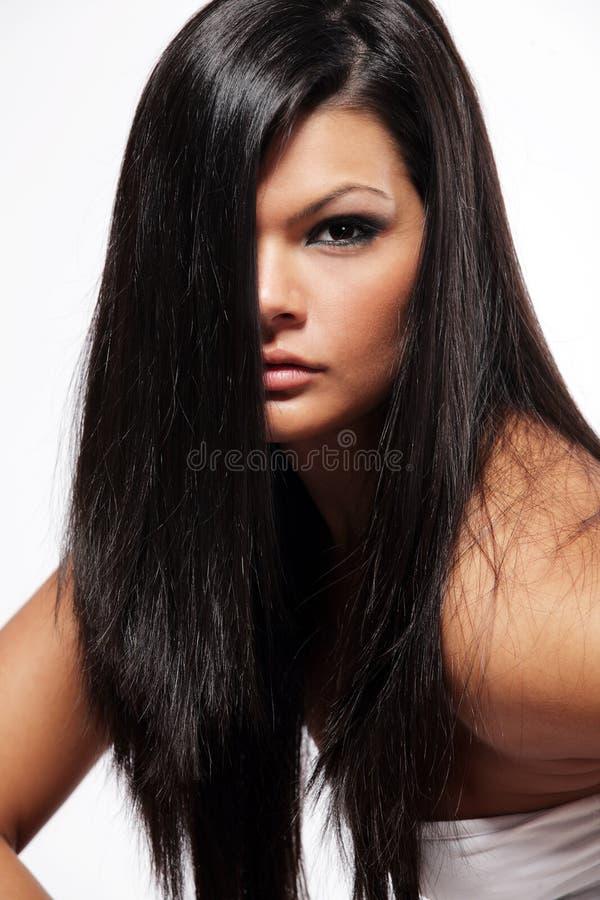 женщина черных волос длинняя стоковые изображения