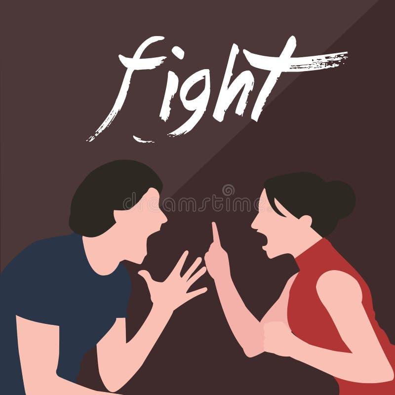 Женщина человека боя пар кричащая спорит кричать друг к другу конфликт в разводе отношения замужества иллюстрация штока