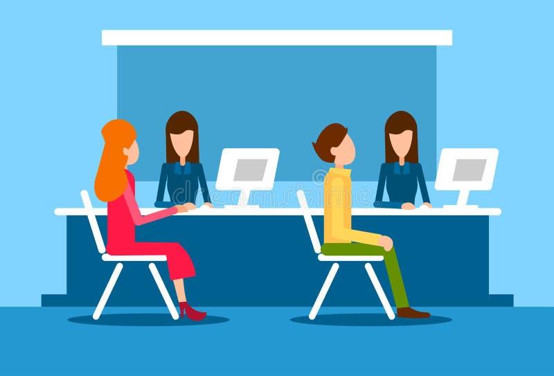 Женщина человека клиента офиса банка внутренняя сидит рабочее место работника банкира стола иллюстрация вектора