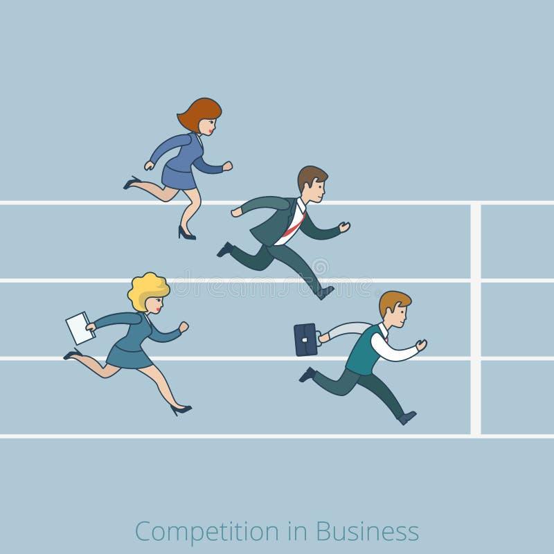 Женщина человека отделки дела конкуренции Lineart плоская иллюстрация штока
