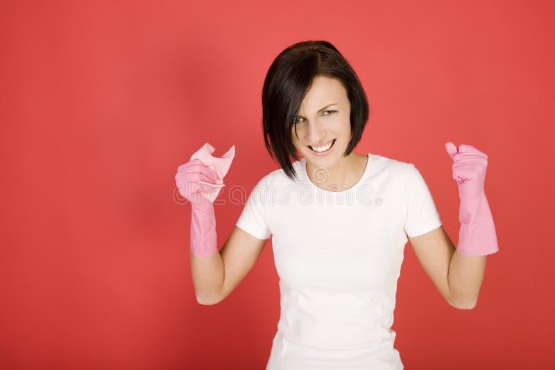 Женщина чистки Angery стоковое изображение