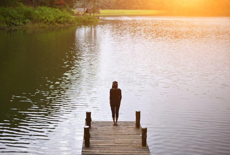 Женщина чувствуя победоносную облицовку на мосте в озере стоковое фото