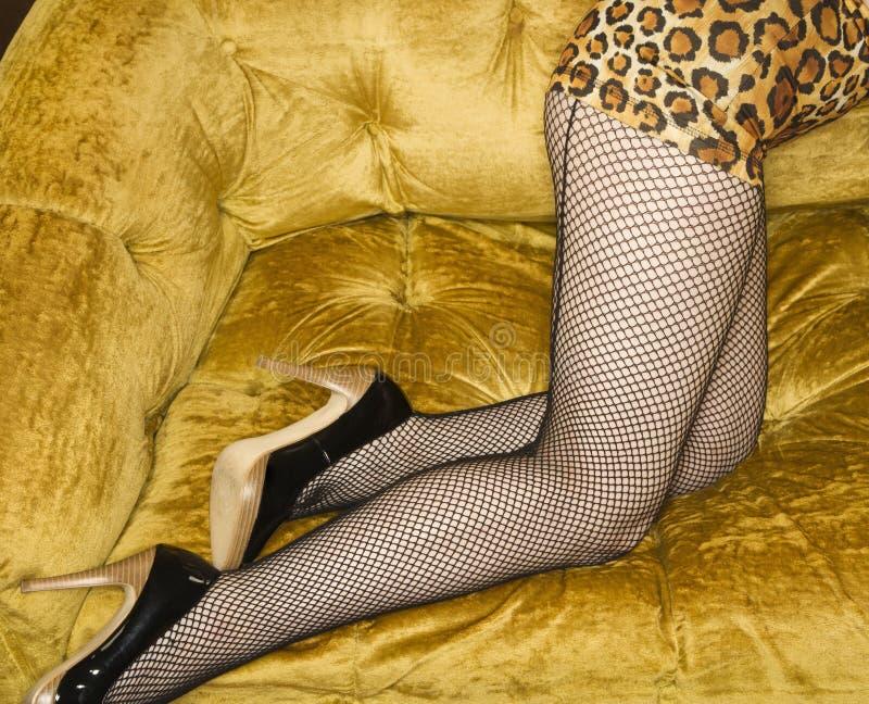женщина чулков fishnet стоковое фото