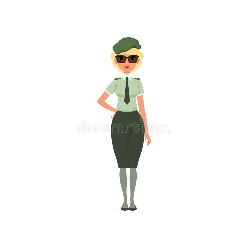 Женщина шаржа в официально платье войск: зеленые рубашка, связь, юбка, берет и солнечные очки Маленькая девочка в офицере армии иллюстрация штока