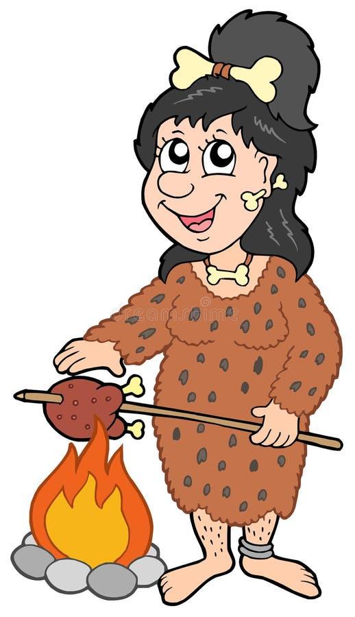 женщина шаржа доисторическая иллюстрация вектора