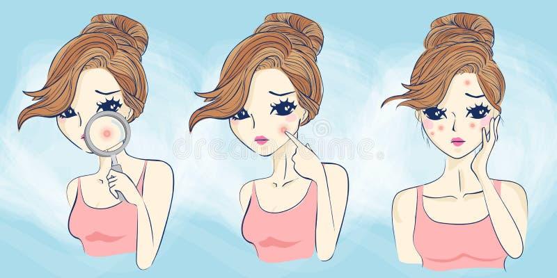 Женщина шаржа имеет проблему стороны иллюстрация вектора