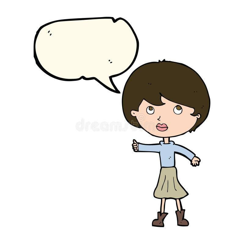 женщина шаржа спрашивая вопрос с пузырем речи бесплатная иллюстрация