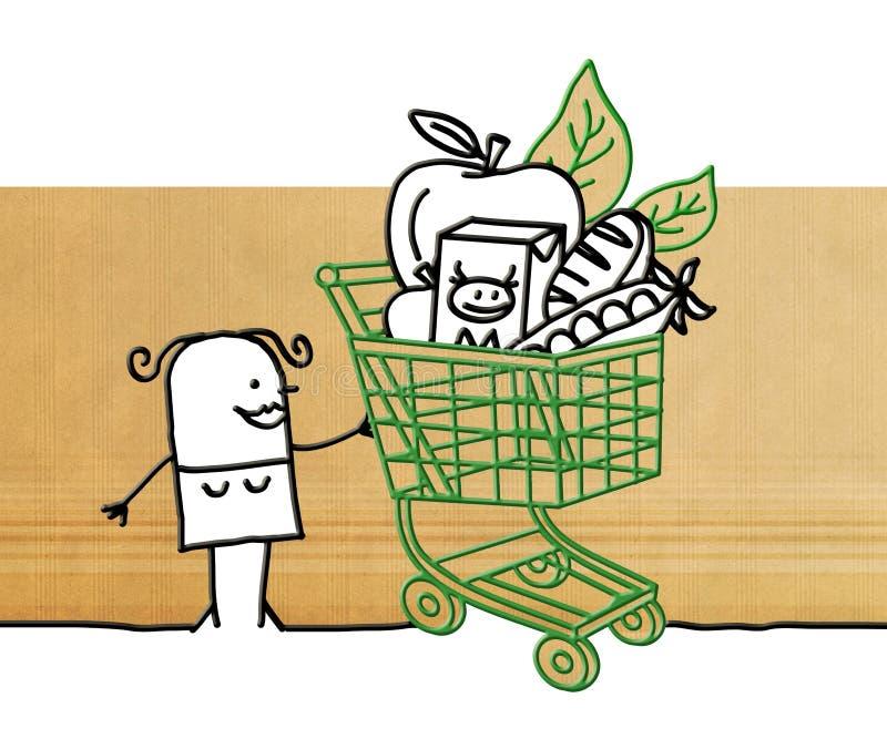 Женщина шаржа с магазинной тележкаой и едой иллюстрация вектора