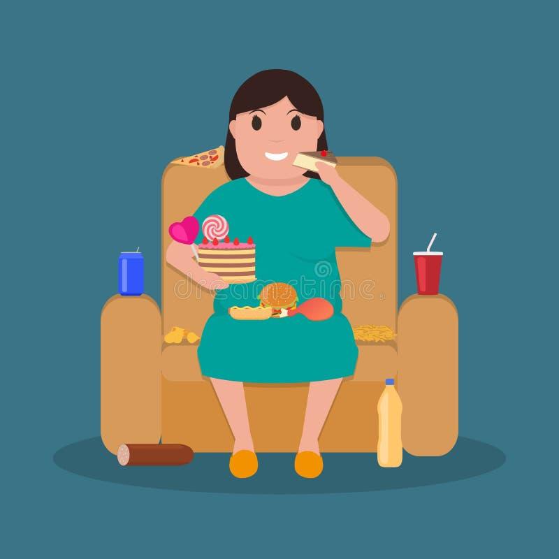 Женщина шаржа тучная сидя на кресле ест высококалорийную вредную пищу иллюстрация штока