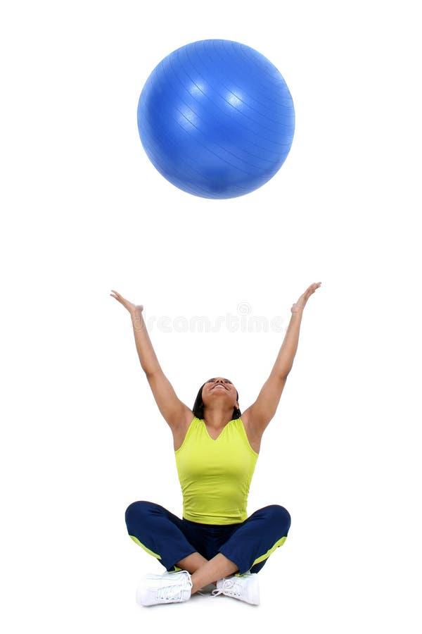 женщина шарика голубая меча стоковое фото