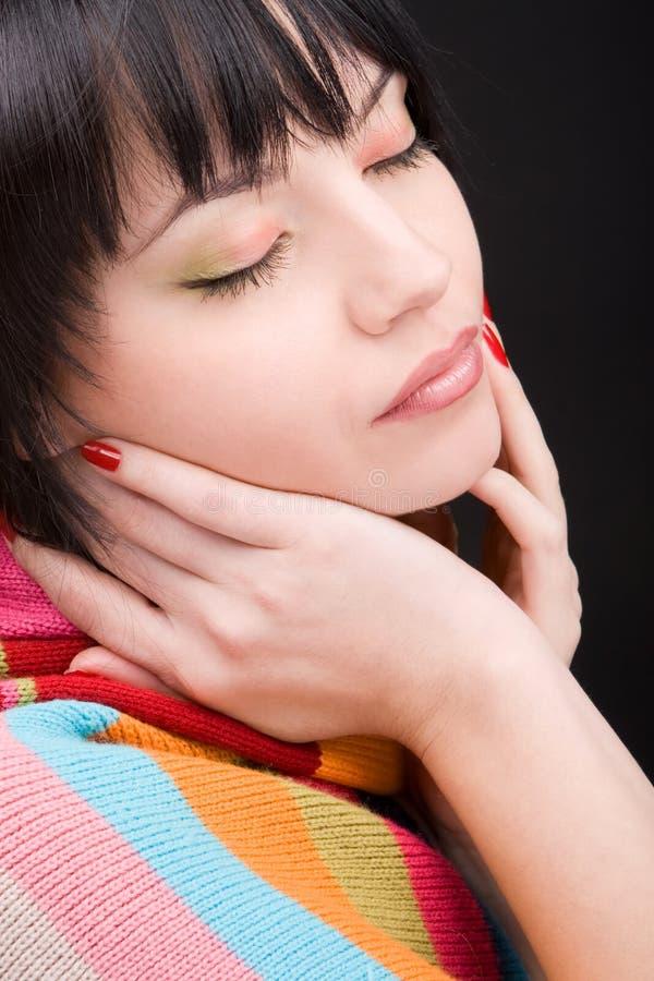 женщина шарфа портрета стоковые фото