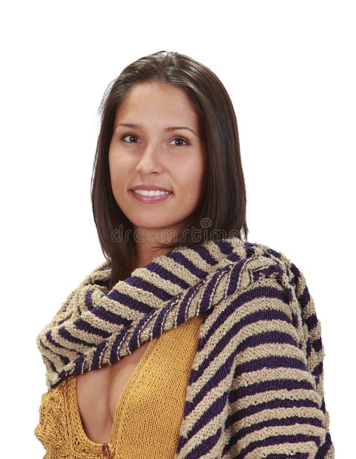 женщина шарфа портрета стоковая фотография