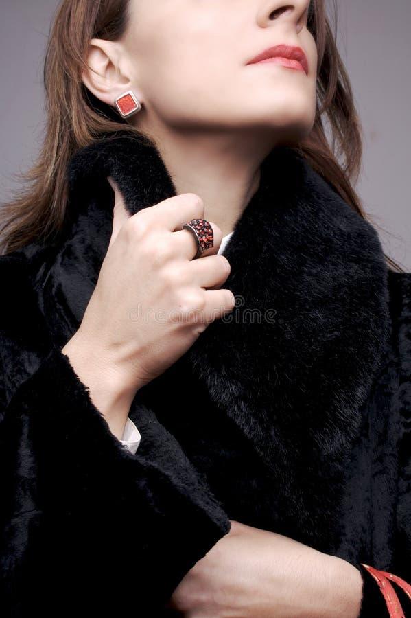 женщина шерсти пальто стоковое изображение rf