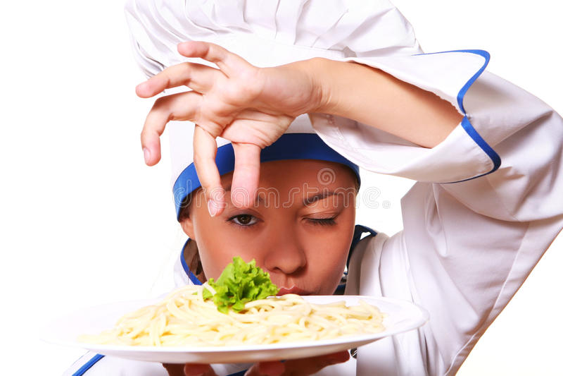 женщина шеф-повара смешная белая стоковая фотография rf