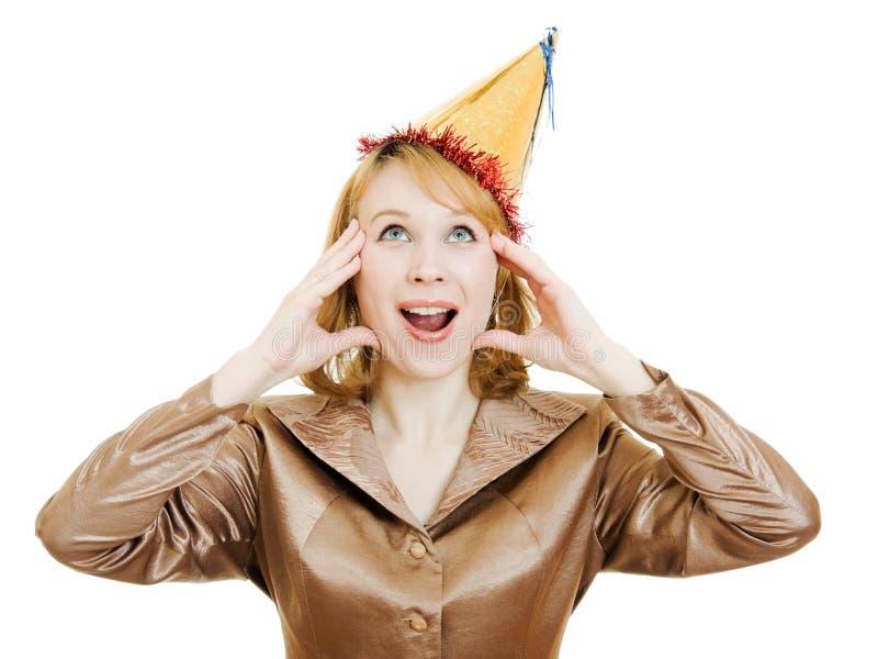 женщина шлема дела праздничная счастливая стоковое изображение