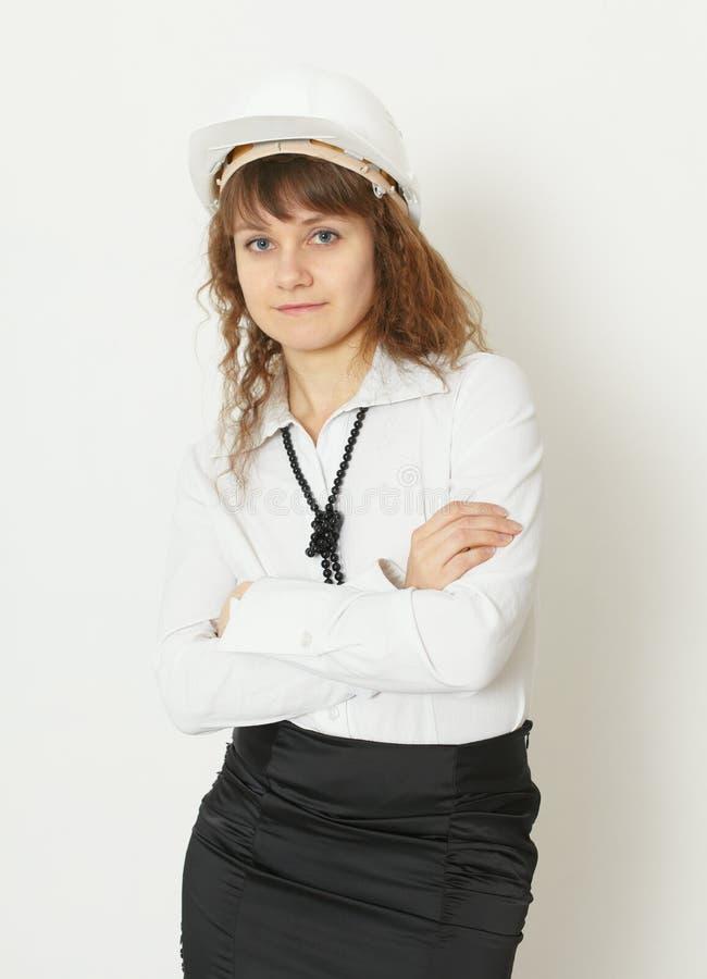 женщина шлема здания защитная стоковое фото rf