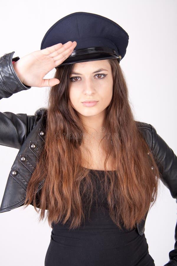 женщина шлема нося стоковые фотографии rf