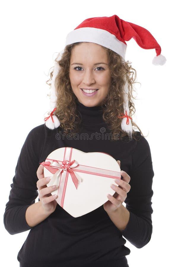 женщина шлема рождества шоколада коробки стоковые изображения