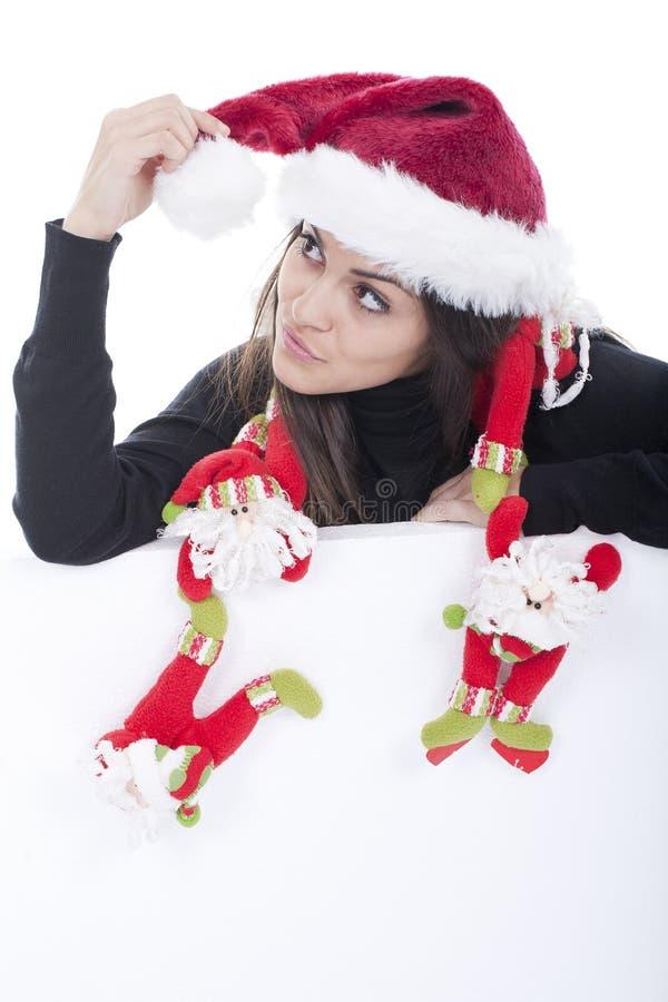 женщина шлема рождества стоковое изображение rf