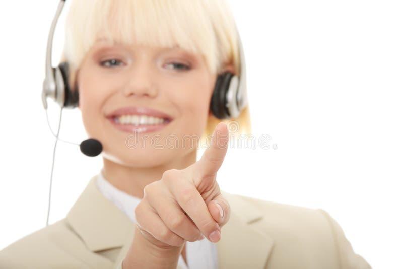 женщина шлемофона центра телефонного обслуживания стоковые фотографии rf