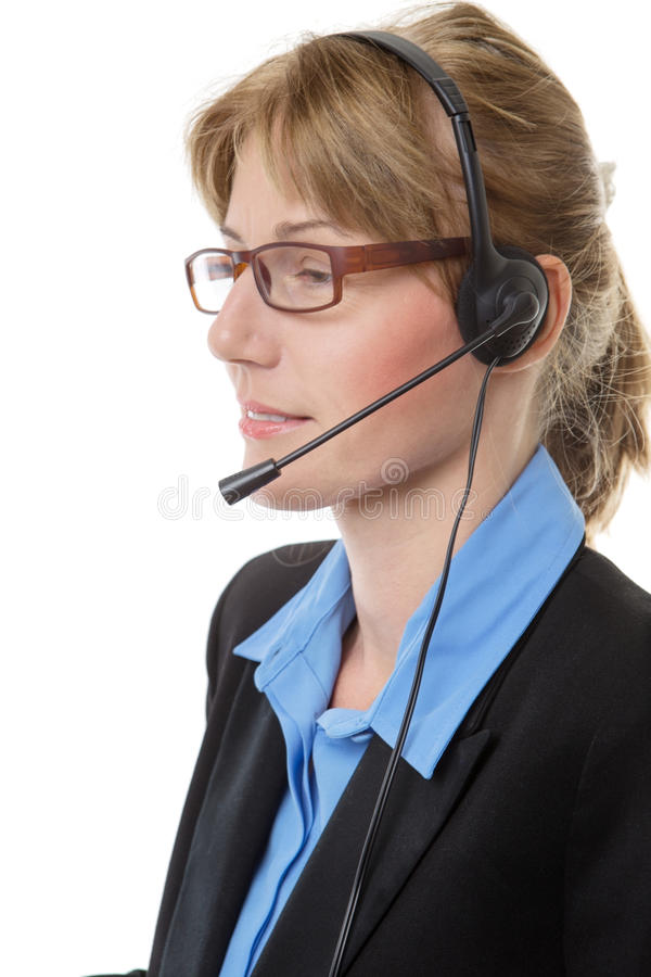 Женщина шлемофона телемаркетинга стоковые изображения