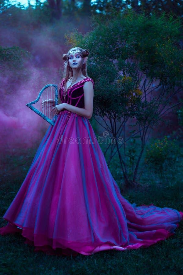 Женщина эльфа в фиолетовом платье стоковое изображение rf