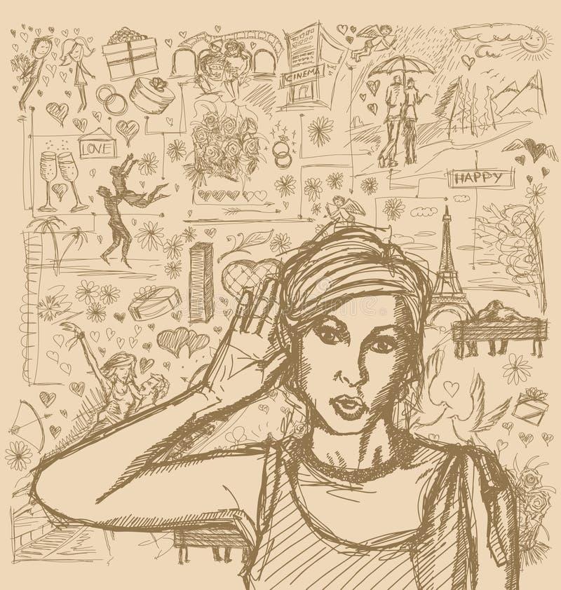 Женщина эскиза подслушивая что-то против предпосылки любовной истории иллюстрация штока