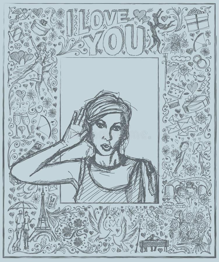 Женщина эскиза подслушивая что-то против предпосылки любовной истории иллюстрация вектора