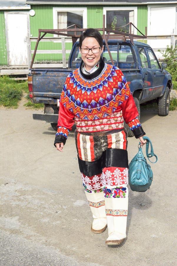 Женщина Эскимос в Гренландии стоковые изображения rf