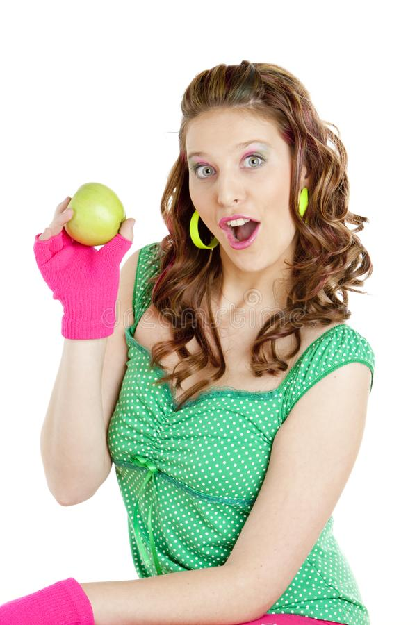 женщина яблока