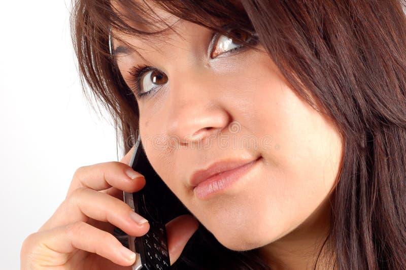 женщина 5 телефонов стоковое фото rf