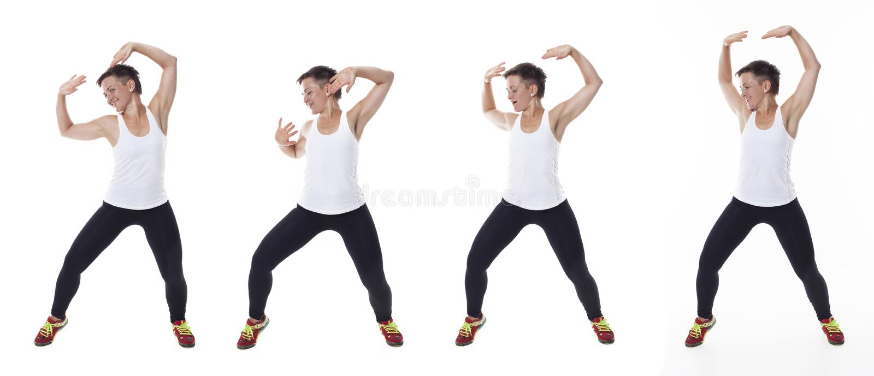 Женщина dansing в студии, коллаже стоковые изображения rf