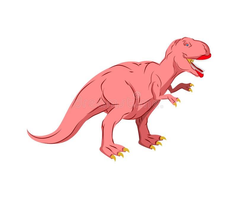 Женщина Dino Розовый изолированный динозавр Старый хищник Tyrannosau бесплатная иллюстрация