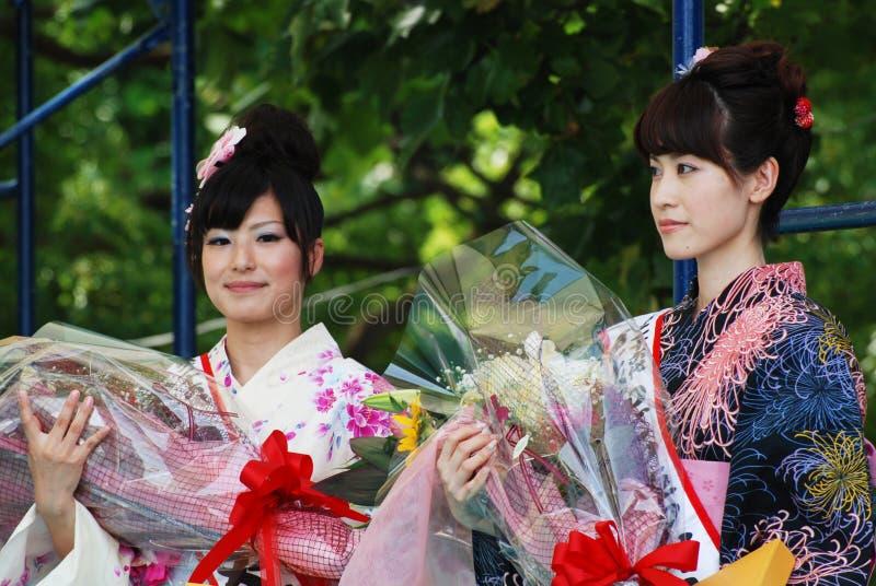 Женщина Miss Fuji на выставке основной ступени стоковые фотографии rf
