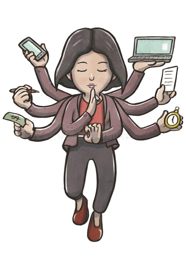 Женщина Multitasking при множественные оружия размышляя и плавая бесплатная иллюстрация
