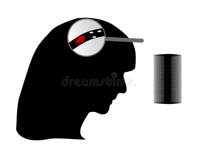 женщина nit головной вош гребня иллюстрация штока