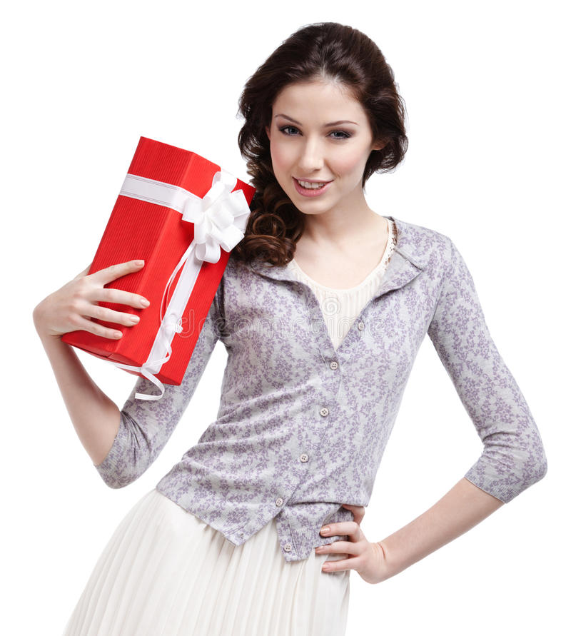 Женщина Oung вручает подарок рождества стоковая фотография