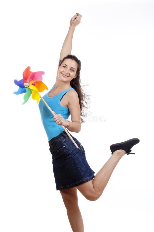 женщина pinwheel стоковые изображения rf