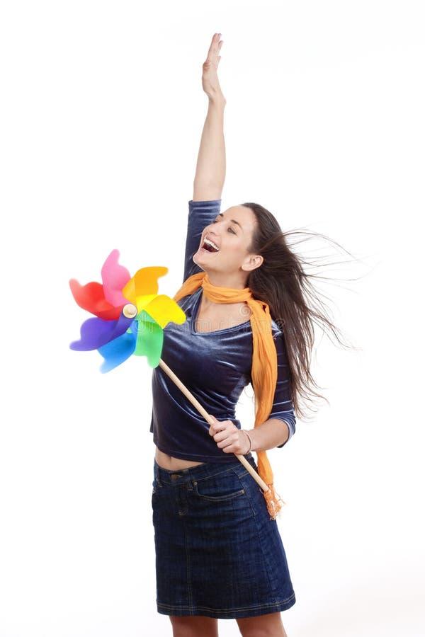 женщина pinwheel стоковая фотография