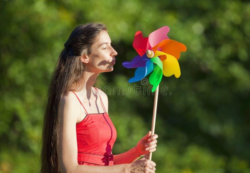 женщина pinwheel стоковые изображения