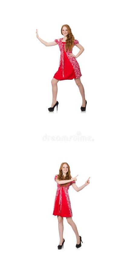 Женщина redhead в красном платье стоковые изображения rf