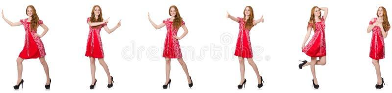 Женщина redhead в красном платье стоковые фотографии rf
