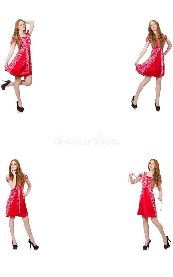Женщина redhead в красном платье стоковое фото