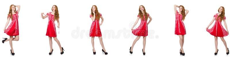 Женщина redhead в красном платье стоковые фото
