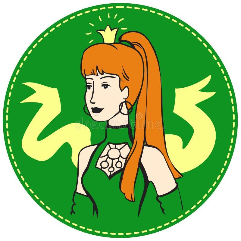 Женщина Redhead с кроной на ее голове стоковое фото